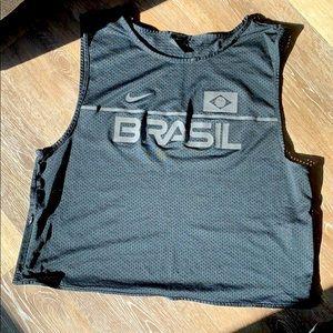 Nike Brasil Black Dri Fit Mesh Crop Tank Large